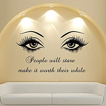 Wall Decal Quote Beauty Salon Make Up Girl Woman Decals Vinyl Sticker Wall  Decor Bedroom