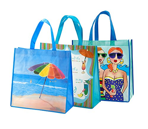 Shopping Totes - 3 Pack Reusable, Heavy Duty, Reinforced, Convenient Size, Easy to Clean, Colorful Beach Themed Design, Eco-Friendly while Looking ()
