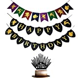 Game of Thrones Party Supplies Set - Happy Birthday Banner with Cake Toppers Party Decorations