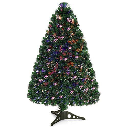 Goplus Artificial PVC Christmas Tree Pre-Lit Fiber Optic Tree (3 FT)