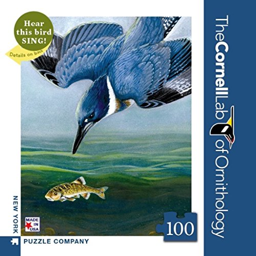New York Puzzle Company - Cornell Lab Belted Kingfisher Mini - 100 Piece Jigsaw Puzzle