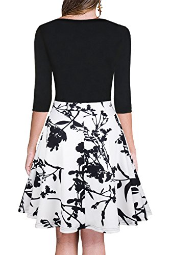 4 Floral Floral 3 Sleeve neck Dress Dreamskull Party V Sexy Cocktail Women's Swing Black qXT0aH