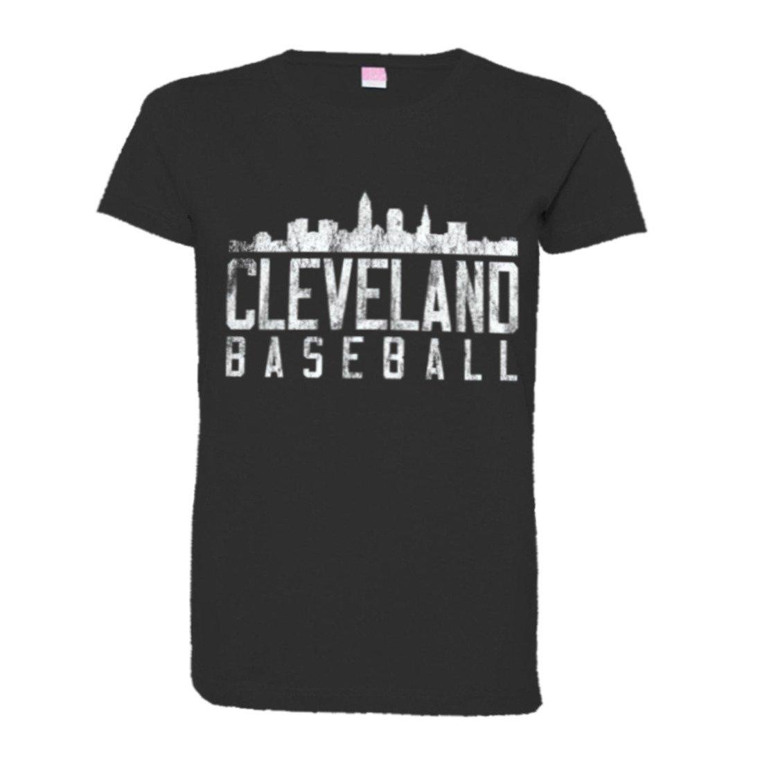 Cleveland Baseball Distressed Indians Skyline Hq Teeblks Shirts