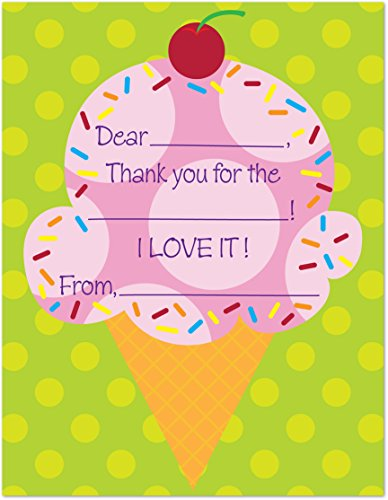 20 Cherry Pink Ice Cream Gift Kids Fill-in - Thank You Card Ice Cream