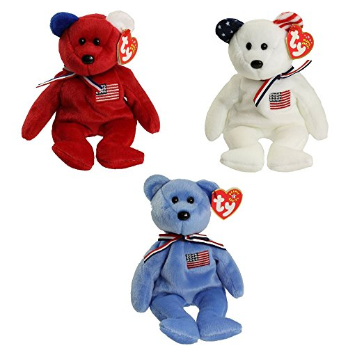 - TY Beanie Babies - AMERICA Bears (Set of 3 Colors - Red, White & Blue)(8.5 inch)