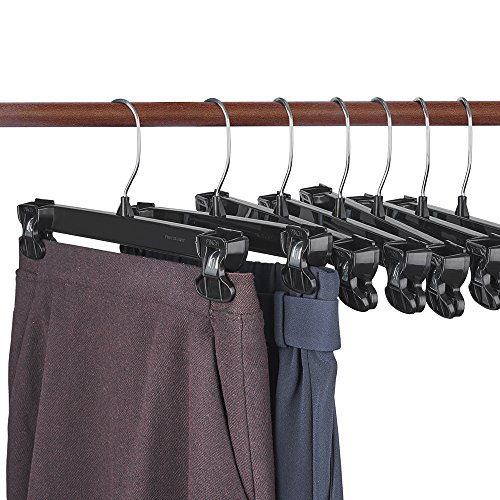 HOUSE DAY Pinch Grip Hangers - Pant Hangers 12'' 50pcs Black Hangers with Polished Swivel Hooks and Padded Clips - Pants Clothes Hangers#2 by HOUSE DAY
