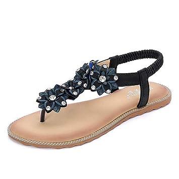 e0f2290ef760b Amazon.com: SHANGXIAN Women's Bohemian Flat Sandals Non-Slip TPR ...