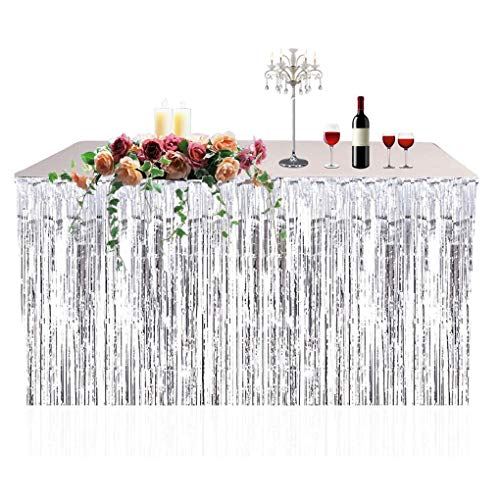 Zerama Metallic Fringe Foil Table Skirt Tinsel Table Curtain for Luau Party Birthday Summer Anniversary Christmas Table Decoration -