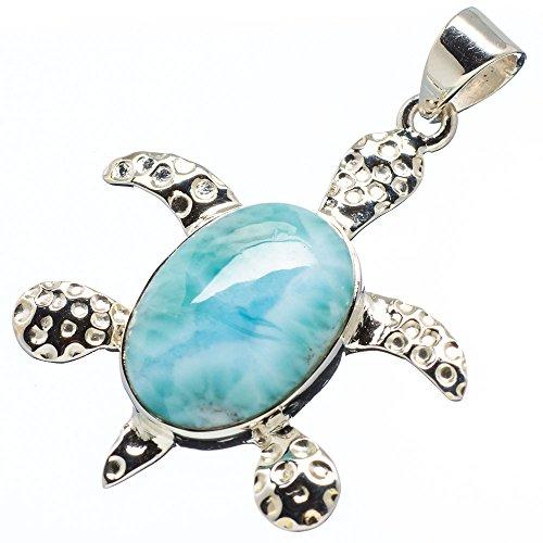 "15ct Larimar Sea Turtle 925 Sterling Silver Pendant 1 1/4"" - Handmade Boho Vintage Jewelry FBA-PD-MQ1008C from Ana Silver"