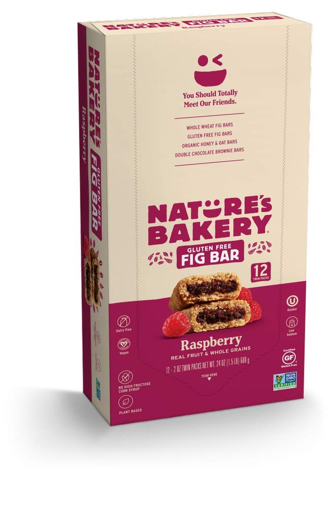 Nature's Bakery Gluten Free Fig Bars, Raspberry, 1- 12 Count Box of 2 oz Twin Packs (12 Packs), Vegan Snacks, Non-GMO