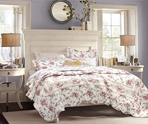 3 Piece Vintage Floral Printed Pattern Quilt Set King Size, Featuring Reversible Elegant Rose Design Comfortable Bedding, Classic French Country Shabby Chic Bedroom Decor, Pink, White, Multicolor by SE