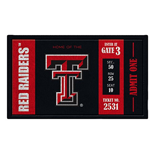 Texas Tech Rug - Team Sports America Texas Tech Recyclable PVC Vinyl Indoor/Outdoor Weather-Resistant Team Logo Door Turf Mat