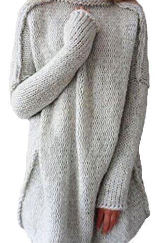 Las Mujeres Suéter De Cuello Alto Manga Larga Camiseta Crop Tops Sueltos Grey
