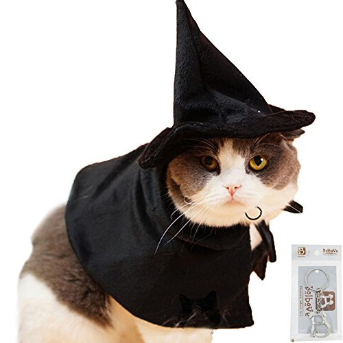 Bolbove Pet Mysterious Hooded Cloak Witch Hat Wizard Costume for Cats & Small Dogs Party Halloween Cosplay Black (Cat In The Hat Family Halloween Costumes)