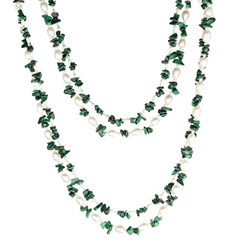 HinsonGayle 'Fern' 2-Strand Freshwater Cultured Pearl & Green Malachite Necklace & Dangle Earrings-40 in length - Green Malachite Chip