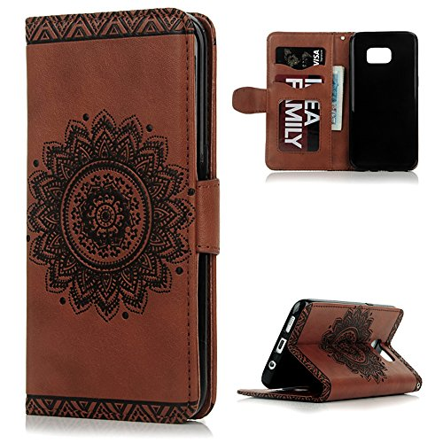 Galaxy S7 Edge Wallet Case, YOKIRIN PU Leather Dream Catcher 3D Relief Totem Embossed Folio Flip Full Protective Cover with Credit Card Holder Kickstand Magnetic Closure for Samsung Galaxy S7 Edge