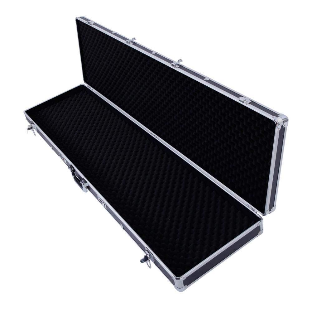 Safety Lockable Aluminum New Framed Locking Gun Lock Box Hard Storage Organizer Case Handle Suitcase Carry Case Black