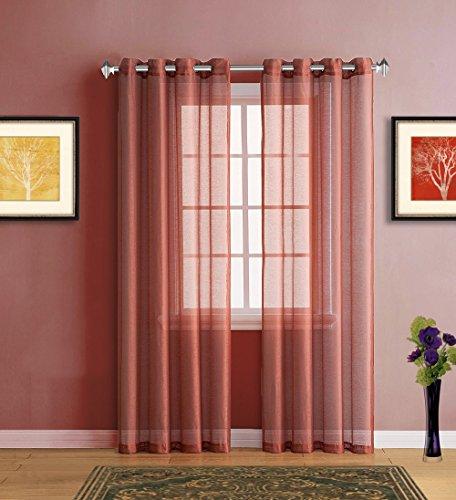 Warm Home Designs Long Orange Rust Sheer Window Curtains