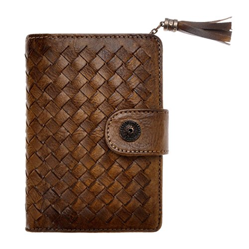 ZLYC Handmade Woven Leather Short Clutch Fringe Wallet Purse Card Case Holder with Cute Tassel Charm, Brown