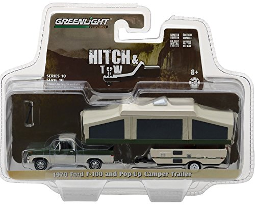 GREENLIGHT 1:64 HITCH & TOW SERIES 10 - 1970 FORD F-100 WITH POP-UP CAMPER 32100-B (Camper Ford)