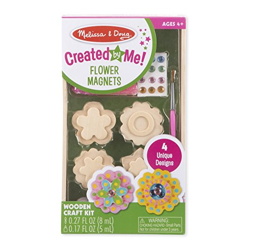 Flowers 5 Little (Melissa & Doug Created by Me! Flower Wooden Magnets Craft Kit (4 Designs, 4 Paints, Stickers, Glitter Glue))
