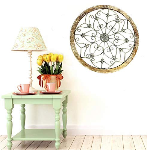 Bellaa 23981 Metal Wall Art Wrought Iron Snowflake Rustic Home Decor Wood