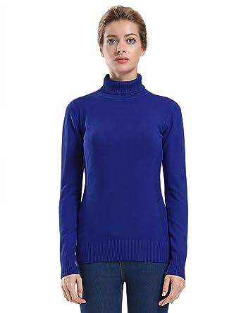 2a25686f5c9 ninovino Women  s Turtleneck Pullover Winter Lightweight Ribbed Long Sleeve  Navy S