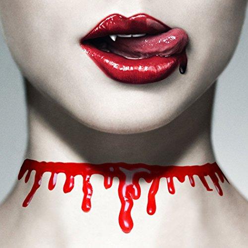 Funpa Halloween Choker Necklace Halloween Costume Accessory Scary Bloody Drip -