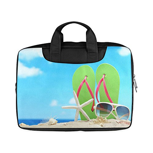 Laptop Notebook Valentine's Day Gifts Sunglasses Flip Flops Starfish On Beach Design Handle Sleeve Bag Case Cover for 11 inches MacBook Pro(Twin Sides - Boys Sunglasses Sale For For Oakleys