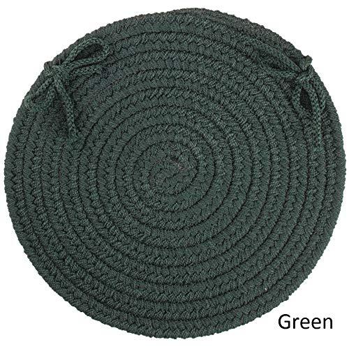 Rhody RugマデイラリバーシブルBraided椅子パッド(セットof 4 ) グリーン MO15X15  グリーン B077NSMK9T