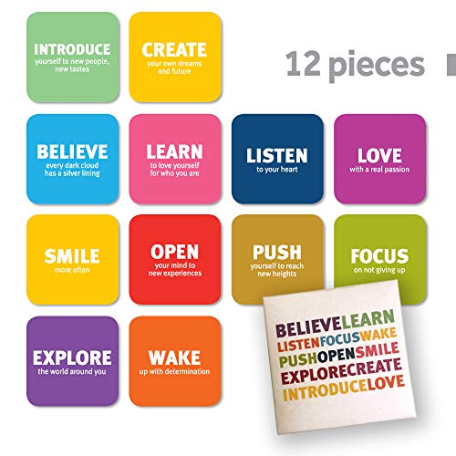 Tsoomi Refrigerator Magnets – Premium Quality Non Slip 12 Piece Inspirational Set in a Designed Package, Original Gift for Loved Ones Suitable for Schools, Vision boards, Office and More