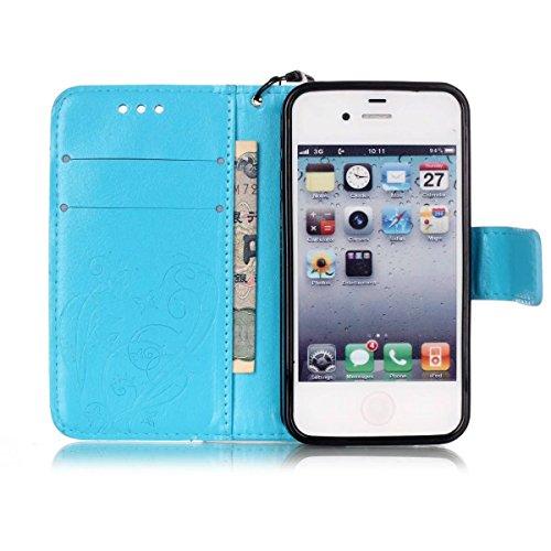 JIALUN-carcasa de telefono Con la ranura para tarjeta, cordón, presión Hermosa patrón de moda abrir el teléfono celular Shell para IPhone 4s 4 ( Color : Rose , Size : IPhone 4s ) Blue