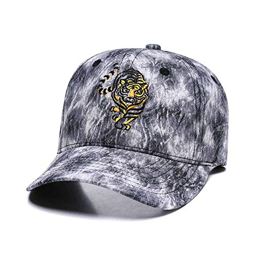 3D Tiger Embroidered Baseball Cap Men Women Cute Adjustable Cotton New Graffiti Dad Hat Grey