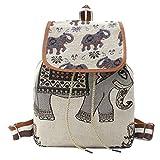 Monique Girls Women Elephant Print Canvas Backpack Drawstring Bag Students Schoolbag Casual Daypack Shoulder Bag