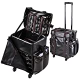 AW Black Soft-sided Rolling Makeup Case 17x14x22'' PU Cosmetic Train Bag Travel Party Show