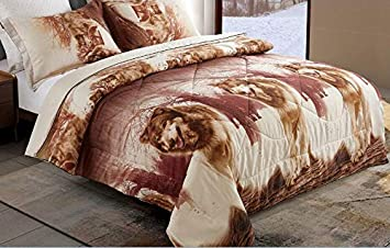 Microfiber Kids Comforter Sets with Pillowcases 1 Comforter ENCOFT 3D Wolf Comforter Bedding Sets for Teen Kids Twin//Full Size 3 Pieces 2 Pillowcases