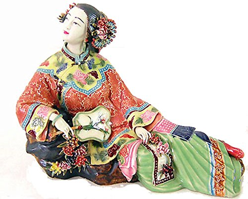 Oriental Beauty with Fan Handmade Porcelain Lady Figurine Chinese Ceramic Lady