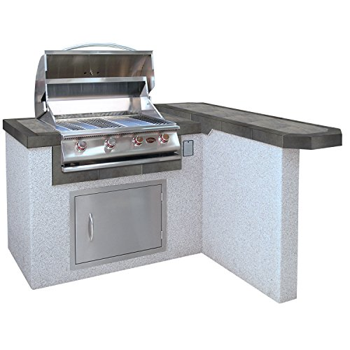 Cal Flame Outdoor Kitchen Island with Bar LBK-401R-A with 4-Burner Built in Grill, 27 Stainless Steel Door, Two Tone Tile and Ameristucco Base