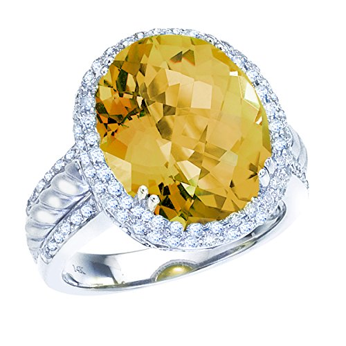 9.00 Carat (ctw) 14k White Gold Oval Yellow Citrine and Diamond Halo Braided Ribbon Fashion Cocktail Anniversary Ring (15 x 12 MM) - Size (Gold Citrine Cocktail)