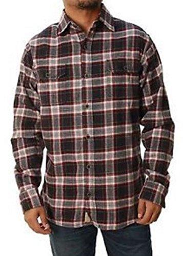 Jachs Men's Plaid Brawny Flannel Button Down Shirt (X-Large, Black/Russet/Grey) ()