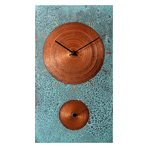 (19-inch Turquoise Copper Rustic Farmhouse Gift Wall Clock - Silent Non Ticking for Home/Office/Kitchen/Bedroom/Living Room/7th Anniversary )