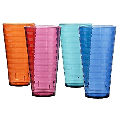 Splash Premium Quality Plastic Plastic 28oz Iced Tea Cup Tumblers | Set of 8 in 4 Assorted Colors