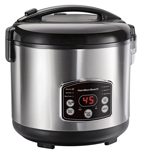 Hamilton Beach Rice & Hot Cereal Cooker, 7-Cups uncooked resulting in 14-Cups (Cooked), with Steam & Rinse Basket (37548)