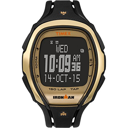 Timex Unisex TW5M05900 Ironman Sleek 150 Tapscreen Full-Size Black/Gold-Tone Resin Strap Watch by Timex