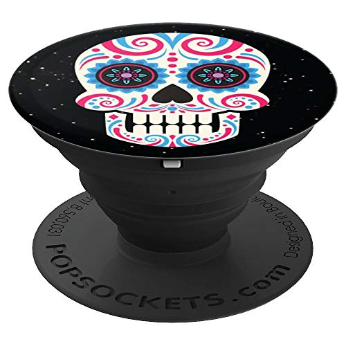 Flower Skull on starry sky background For Halloween - PopSockets Grip and Stand for Phones and Tablets -