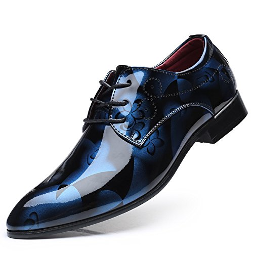 LHLWDGG.K Zapatos De Negocios De Gran Tamaño De Impresión De Los Hombres Zapatos Planos Ocasionales Del Cordón De Los Hombres, Azul, 37 37|Blue