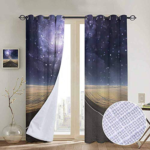 Lilac Gingham Liner - NUOMANAN Room Darkening Wide Curtains Surrealistic,Highway Leads Milky Way Nebula Sky Mystic Life Fantasy Image,Lilac Cadet Blue Sand Brown,Light Blocking Drapes with Liner 100