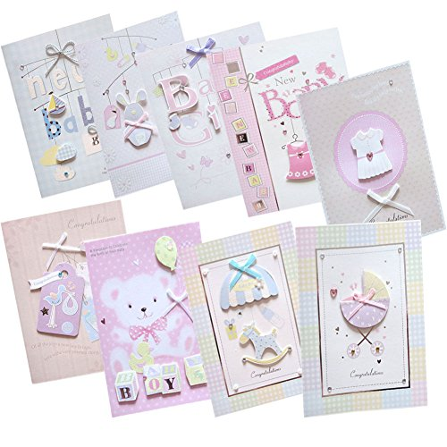Easting Assorted Congratulations Wishes for Baby Cards Box Set 9 Pcs Handmade Embellished Assortment Greeting Cards for Boy or Girl Birth