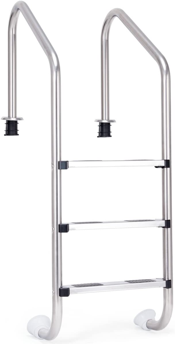 Goplus Swimming Pool Ladder for In Ground Pools Heavy Duty 3-Step Stainless Steel