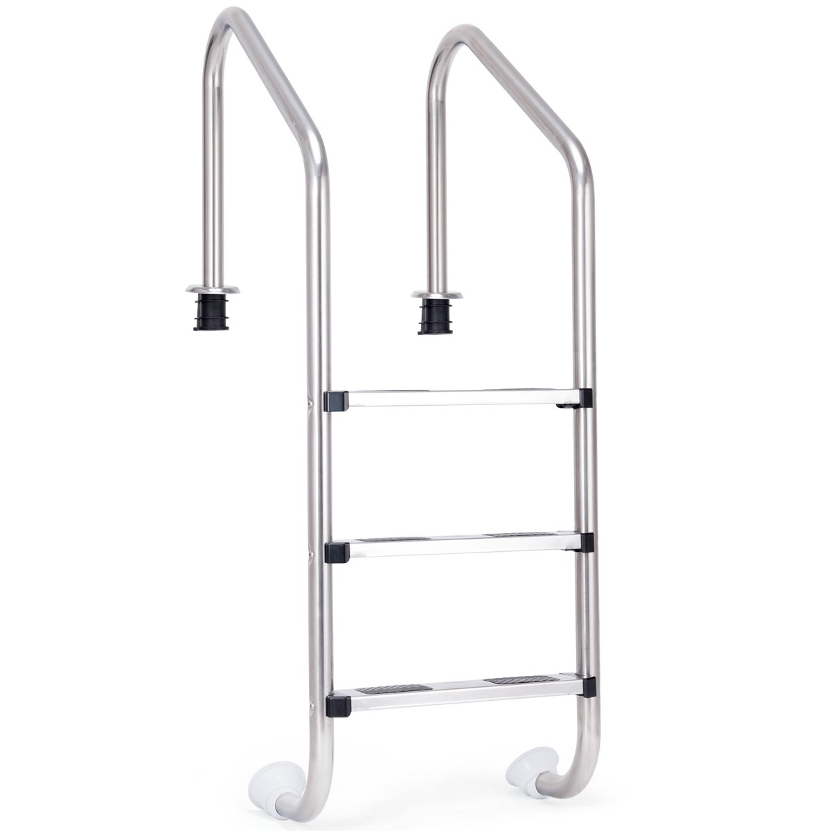 Goplus Swimming Pool Ladder for In Ground Pools Heavy Duty 3-Step Stainless Steel Pool Step Ladder with Easy Mount Legs, Weight Capability 330 lbs by Goplus